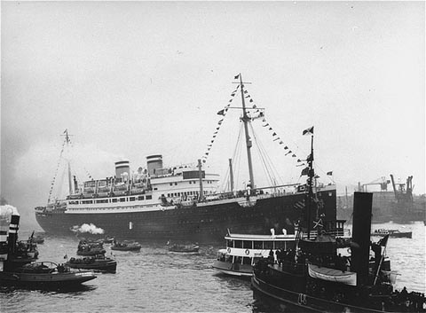 M.S. St. Louis, 1939, which carried 930 Jewish refugees who were turned away from the U.S, Canada, and Cuba