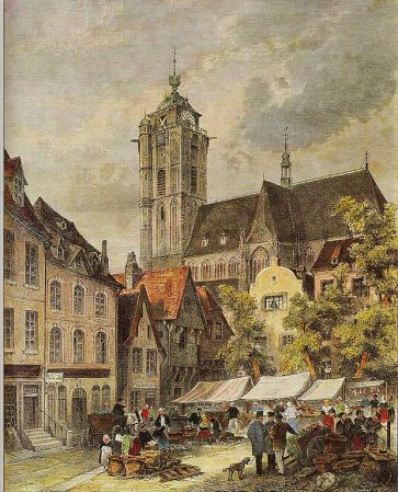 Marketplace in Duisburg by Theodor Weber, 1850, Public Domain via Wikimedia Commons