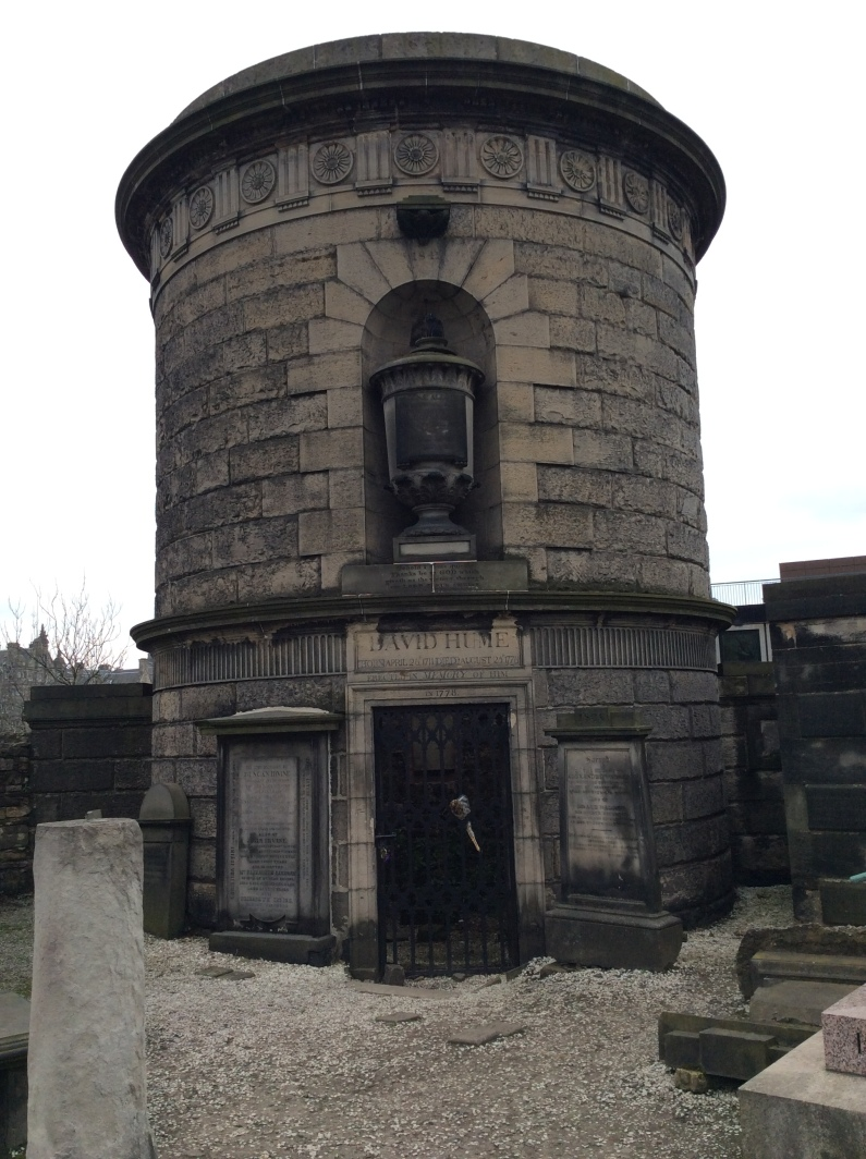 David Hume's grave and monument at Calton Hill Cemetery, Edinburgh, 2014 Amy Cools.JPG