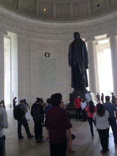Statue of Thomas Jefferson at his Memorial in Washington D.C., photo 2015 by Amy Cools