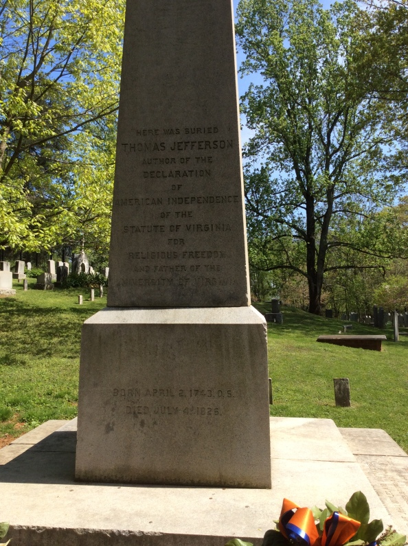 A closer view of Thomas Jefferson's obelisk-tombstone at Monticello, 2015 by Amy Cools