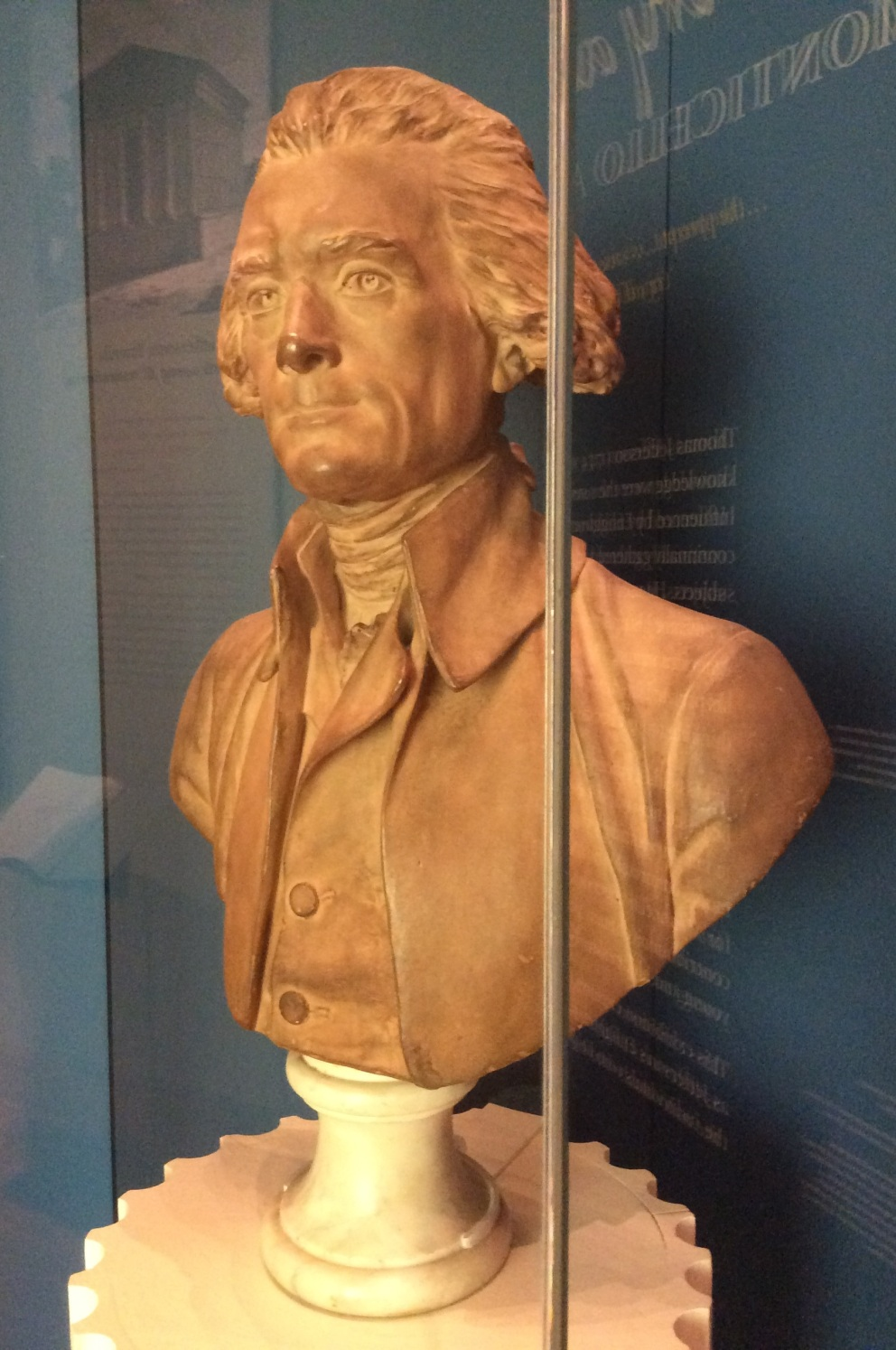 Bust of Thomas Jefferson at the Monticello museum, photo 2015 by Amy Cools