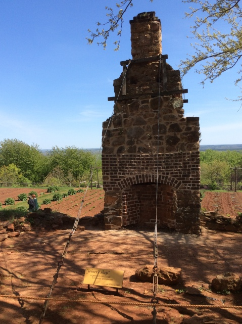 Chimney and foundation of the joiner's shop on Mulberry Row, 2015 by Amy Cools