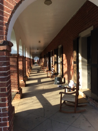 Long porch of student housing at the Pavilion, University of Virginia, 2015 by Amy Cools