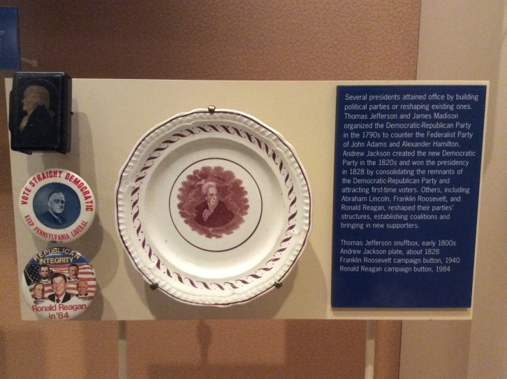 Presidential Souvenirs at the Smithsonian, including a Jefferson snuffbox at upper left, 2015 by Amy Cools