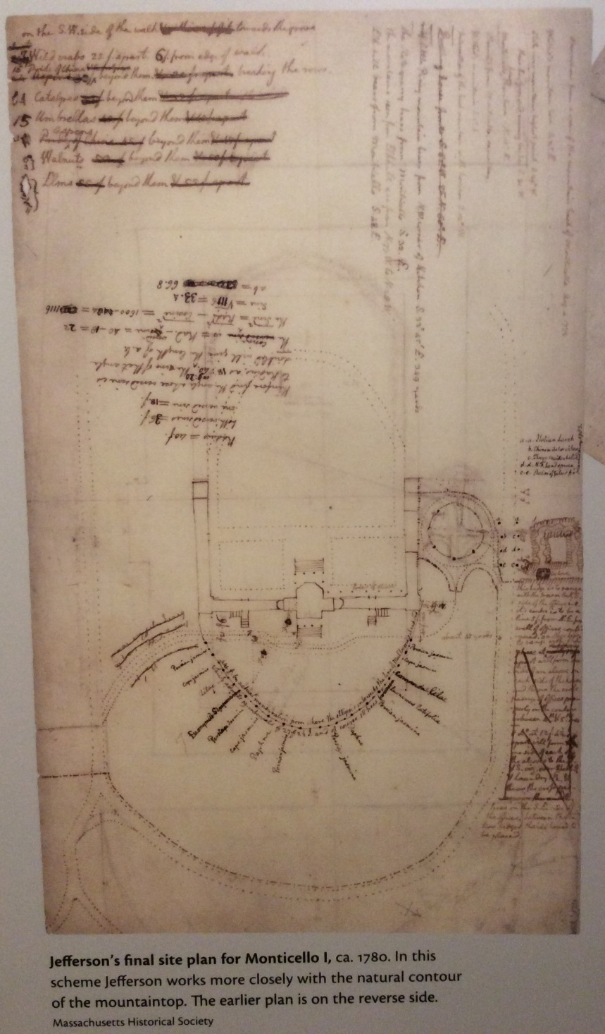 Thomas Jefferson's final site plan for Monticello on display at the visitor center museum, 2015 by Amy Cools
