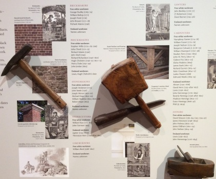 Tools like these would have been used in the building of Monticello, on display at the visitor center museum, 2015 by Amy Cools