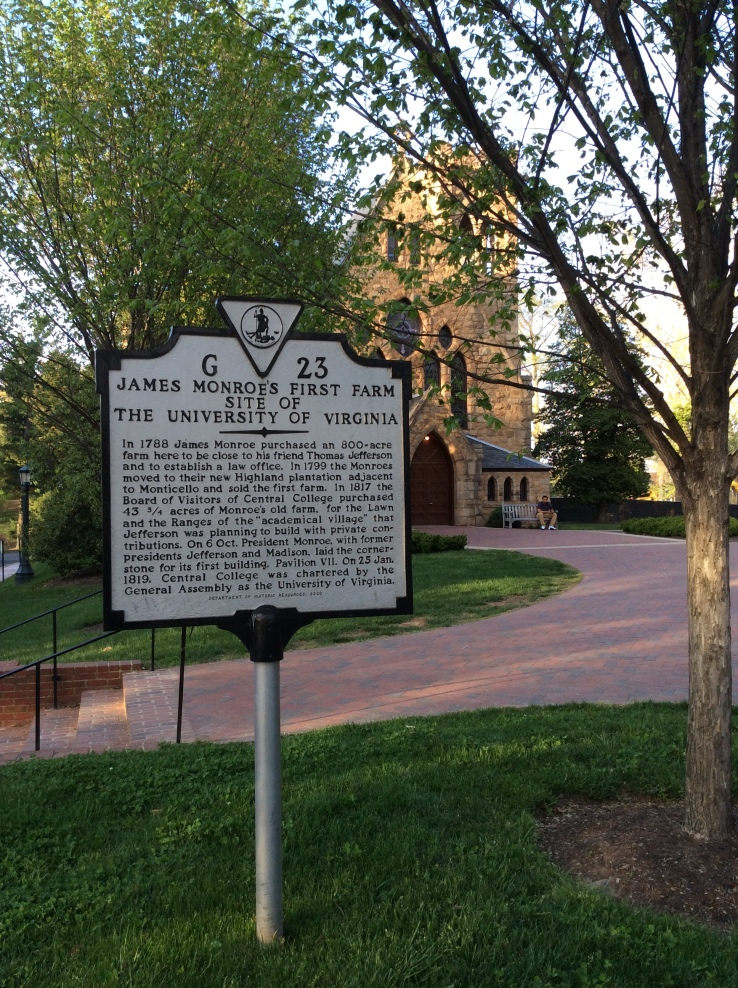 University of Virginia stands on site of James Monroe's first farm, historical marker, 2015 Amy Cools.JPG