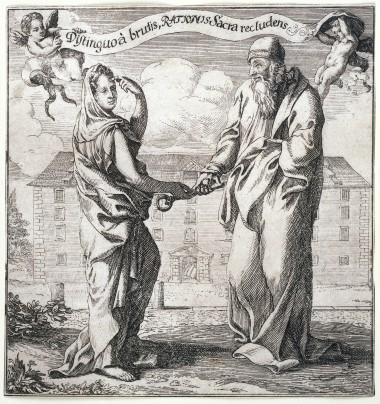 A woman representing Wisdom giving to Aristotle the key to the treasure-house of Reason, to distinguish man from the beasts. Etching. Image public domain via Wikimedia Commons.jpg