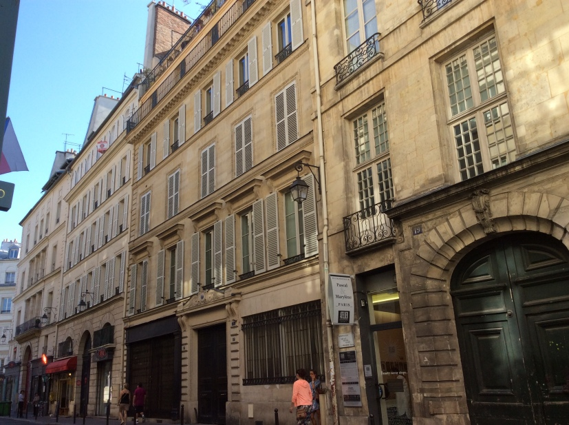Rown of shops and hotels including 17 rue Bonaparte, at or near Hotel d'Orleans site, Paris