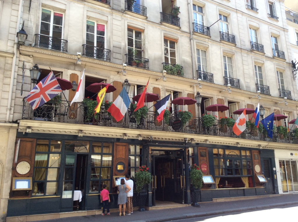 Cafe Procope and its flags, Paris