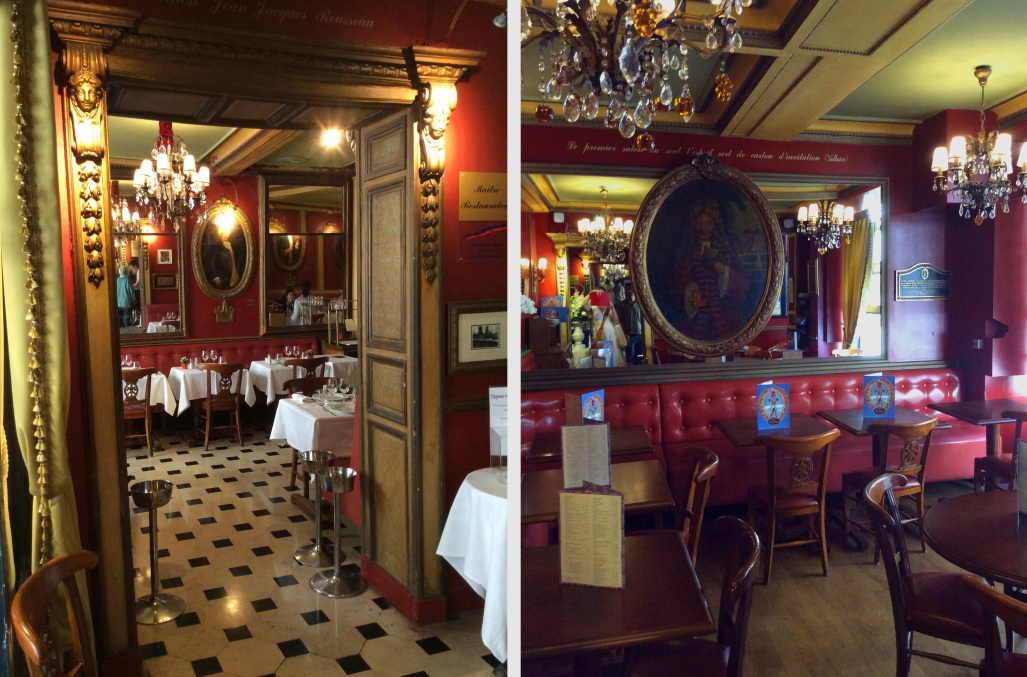 Two interior views of upstairs dining rooms in Café Procope, Paris