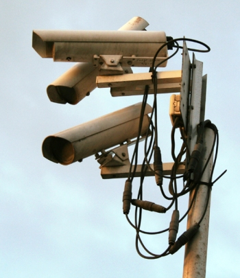Surveillance cameras, Licensed under CC BY-SA 3.0 via Wikimedia Commons