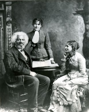 Frederick Douglass with his second wife Helen Pitts and her sister Eva, public domain via Wikimedia Commons