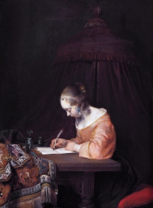 Writing a letter *oil on panel *39 x 29.5 cm *signed b.c.: GTB *ca. 1655