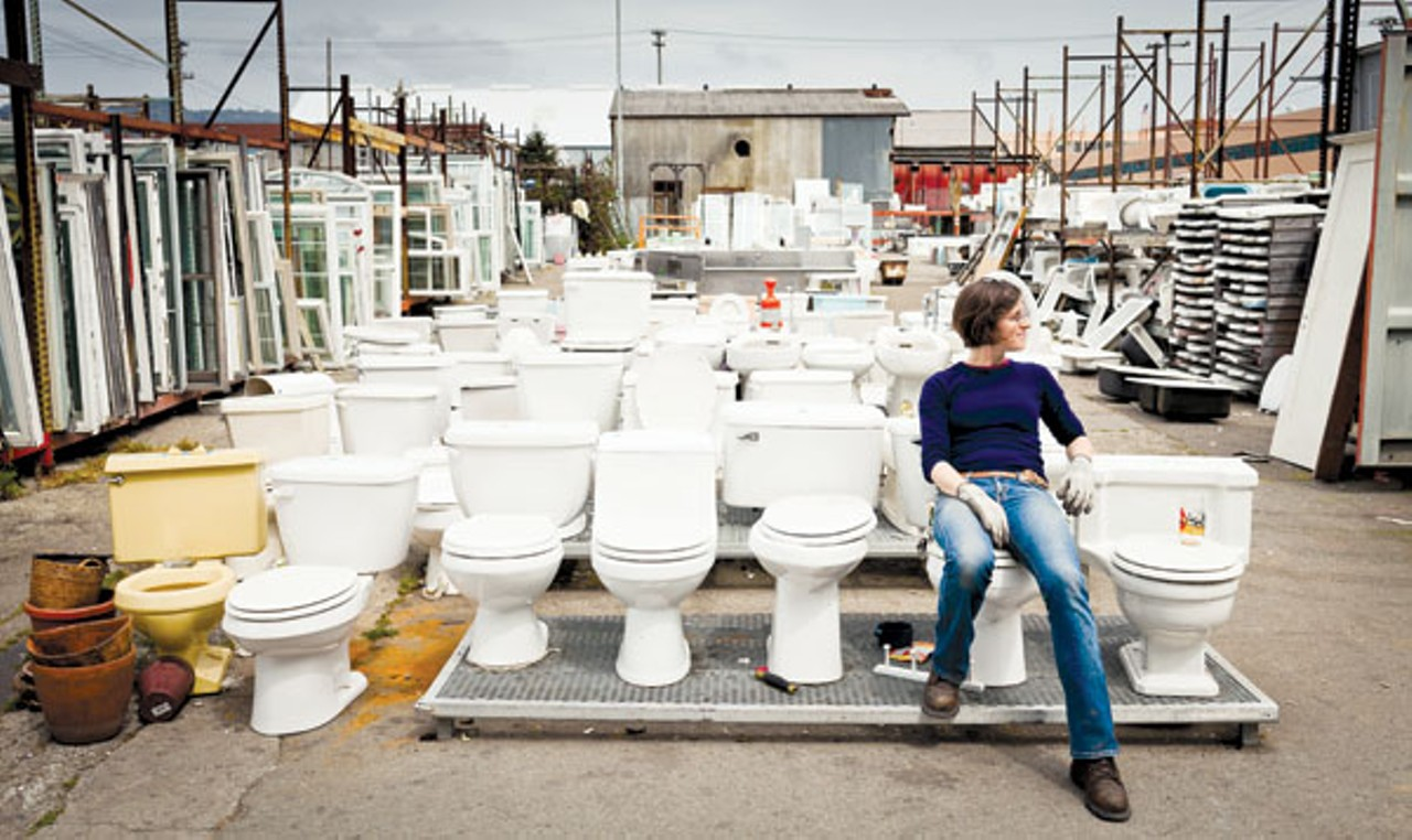 Amy Cools works at Urban Ore, where you can find all manner of household goods, by Stephen Loewinsohn for the East Bay Express