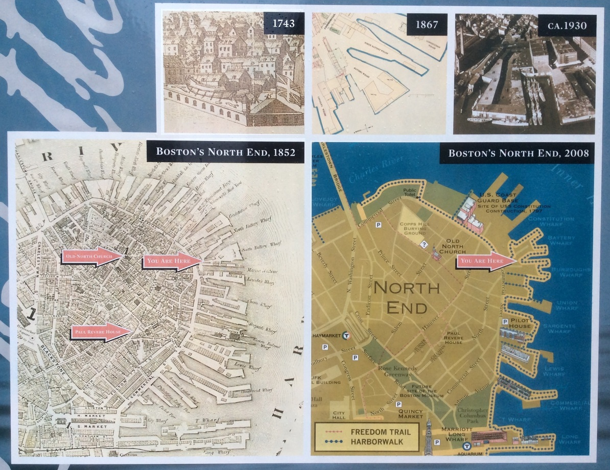 Battery Wharf plaque maps, detail