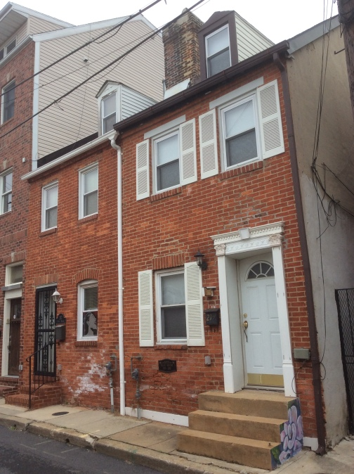 Billie Holliday house at 219 Durham St, Fell's Point, Baltimore MD, photo 2016 Amy Cools