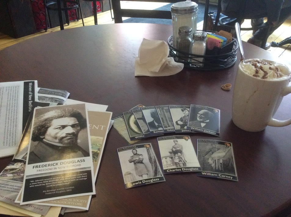 Cafe Mocha at Tia Maria's with Frederick Douglass tour materials, New Bedford MA