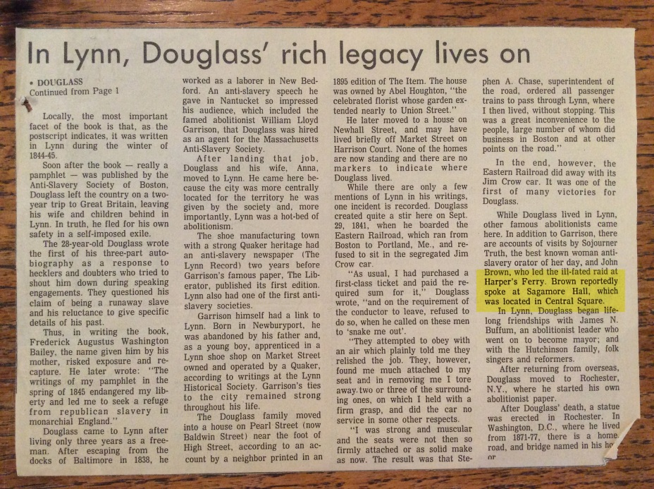 Clipping from Lynn Historical Society about Douglass' life in Lynn and Sagamore Hall