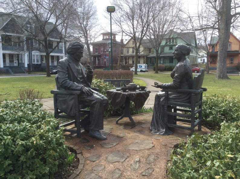 Frederick Douglass and Susan B. Anthony statue by Pepsy Kettvong, Rochester NY, 2016 by Amy Cools