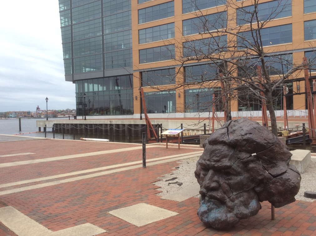 Frederick Douglass sculpture at Maritime Park Fell's Pt, photo 1, 2016 by Amy Cools