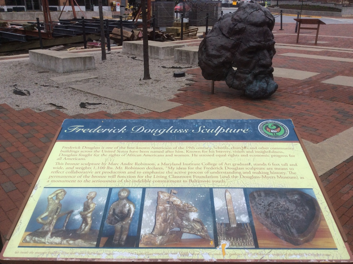 Frederick Douglass sculpture at Maritime Park Fell's Pt, photo 2, 2016 by Amy Cools