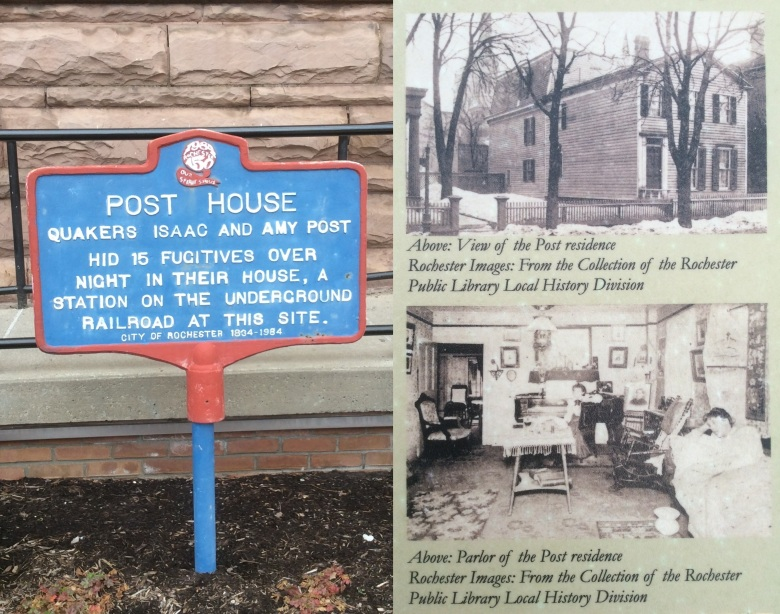 Historical Marker and plaque for site of Amy and Isaac Post's house, Rochester NY, 2016 by Amy Cools