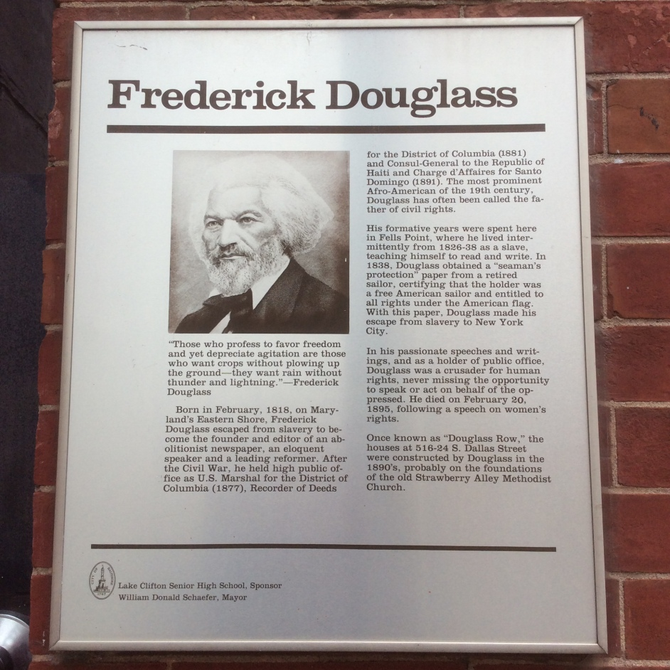 Historical Plaque at Douglass Place, Fell's Pt Baltimore, photo 2016 by Amy Cools