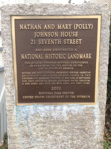 Historical Plaque at Nathan and Polly Johnson House, New Bedford MA