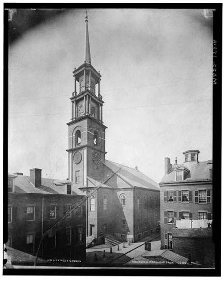 Hollis Street Church from the northeast, 1870, image public domain via Library of Congress