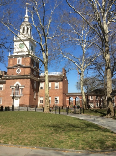 Independence Hall lawn, at the south entrance