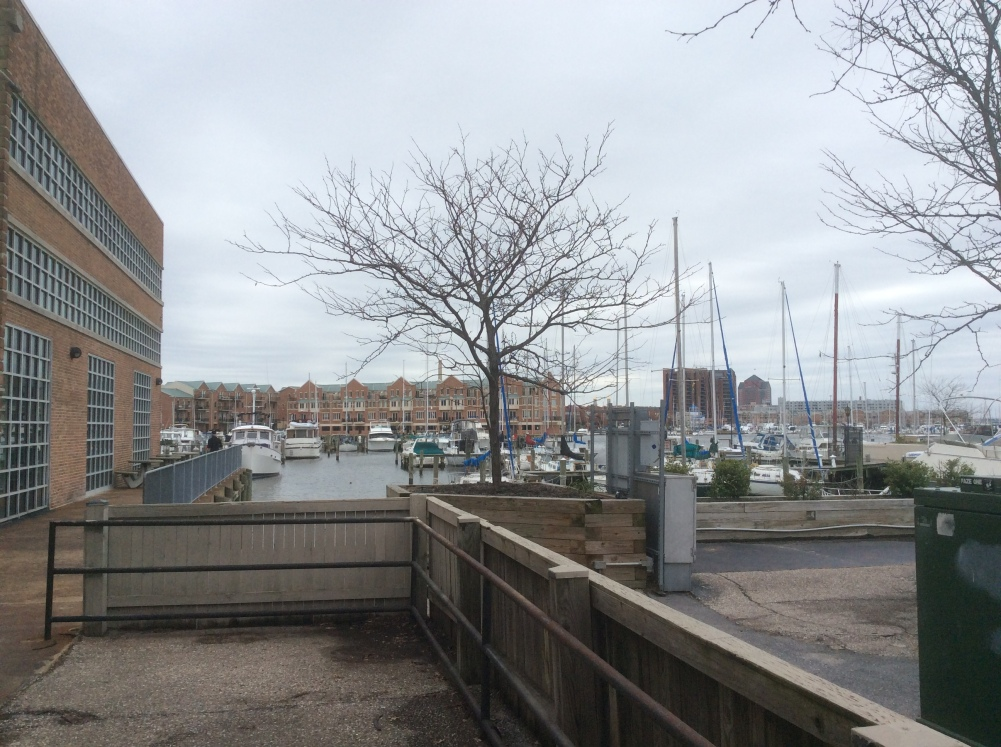 Lancaster St, end where Gardiner's and Meacham's shipyards used to be, Fell's Point, Baltimore MD, photo 2016 by Amy Cools