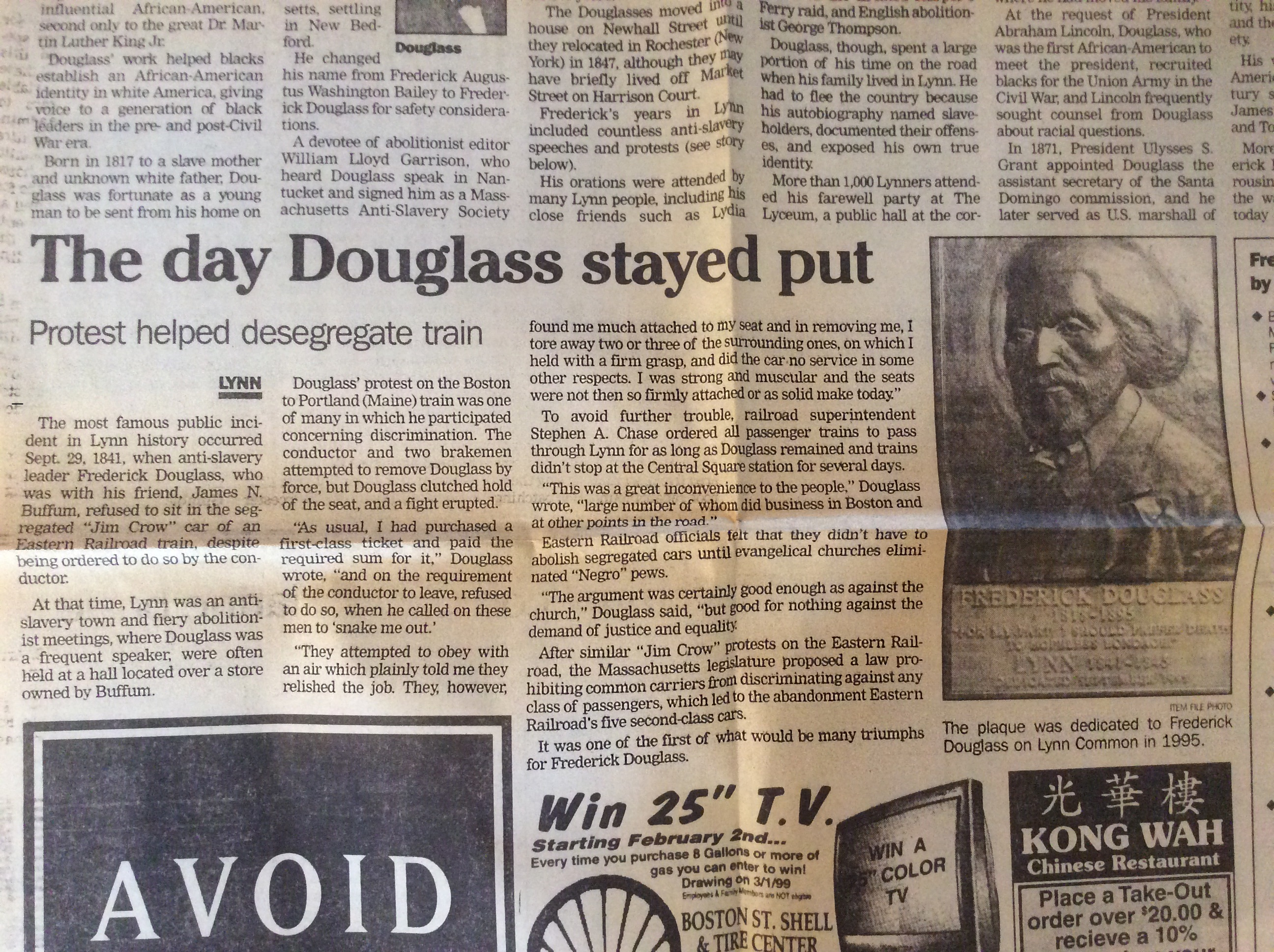 2016 ordinary philosophy newspaper clipping from the lynn museum and historical society about frederick douglass train car sit