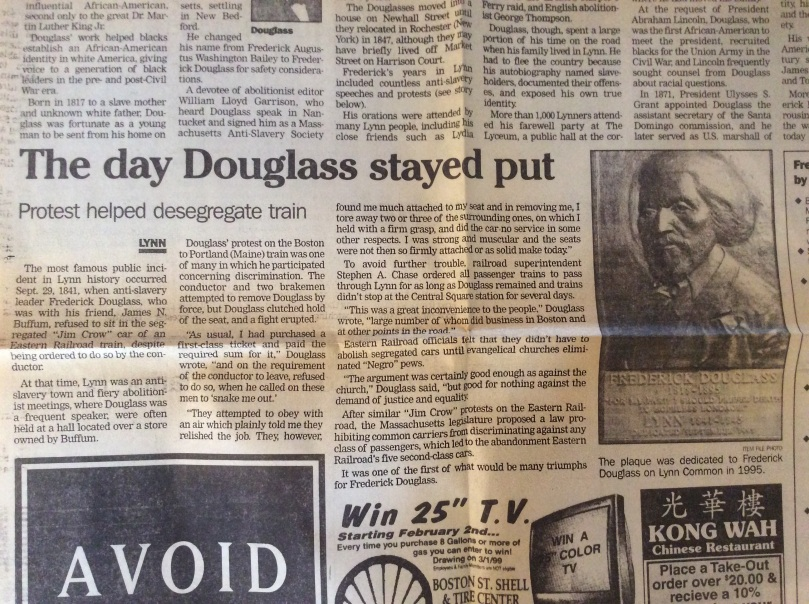 Newspaper clipping from the Lynn Museum and Historical Society about Frederick Douglass' train car sit-in