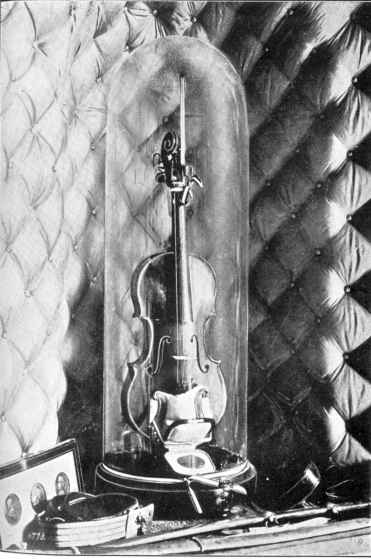 Paganini's Violin at the Municipal Palace in Genoa, image public domain via Project Gutenberg