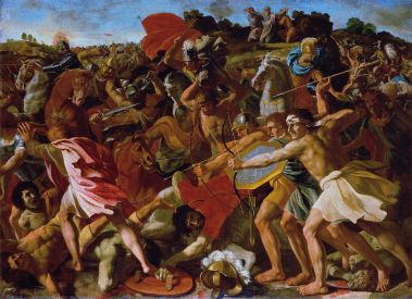 Poussin Nicolas - The Victory of Joshua over the Amalekites, copy, Public Domain via Wikimedia Commons