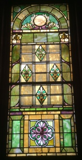 Stained glass window in Old Central Presbyterian Church building, now Hochstein Music School Theater