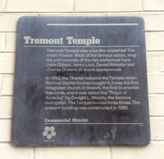 Tremont Temple Plaque, Boston Massachusetts