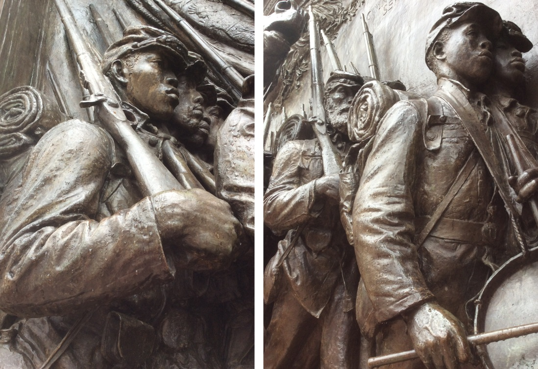 Two closeups of the 54th Regiment Memorial at Boston Common. What determination revealed in these sculpted faces!