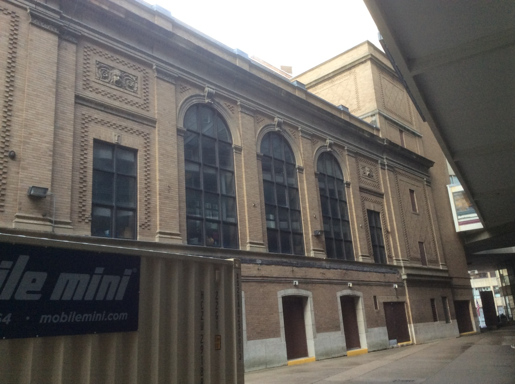 Wang Theater back end, along alley off Tremont St