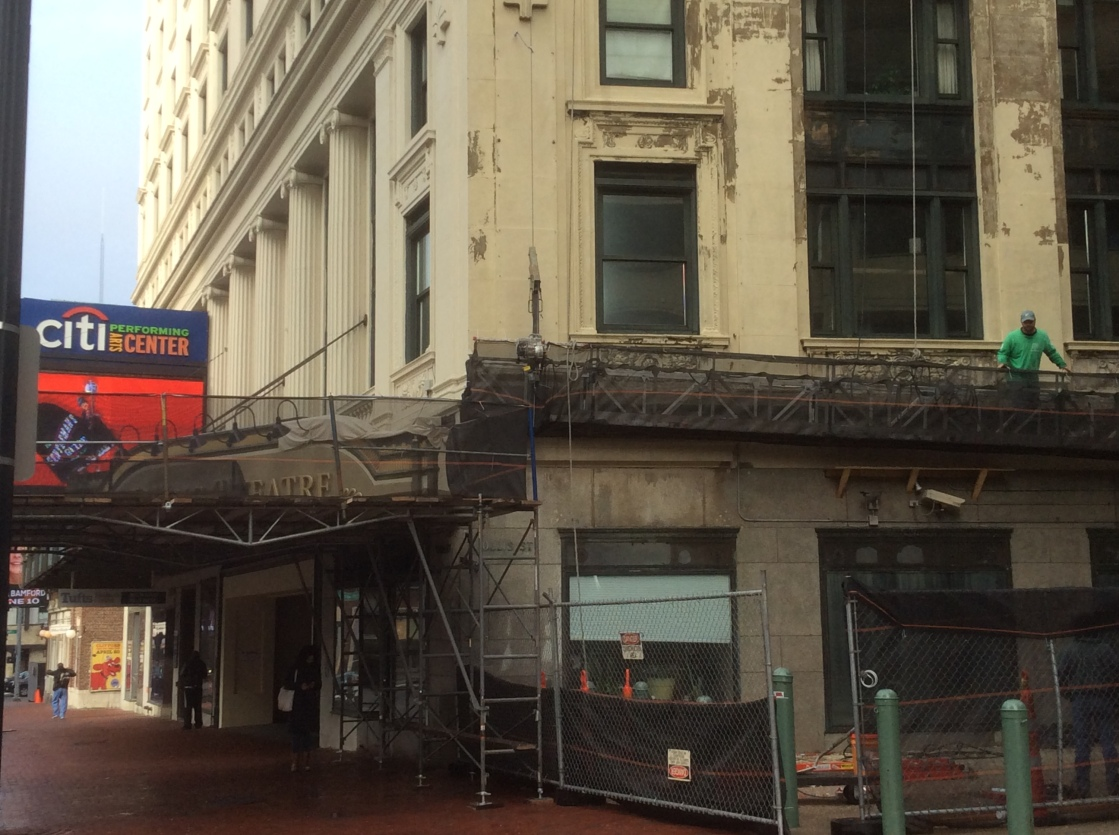 Wang Theatre's south side with scaffolding, photo 2016 by Amy Cools