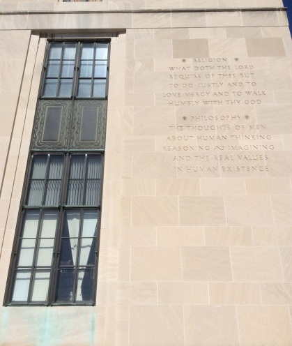 Definition of Philosophy and Religion on Rundel Library Building, Rochester, photo 2016 Amy Cools