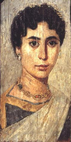 Detail of the death portrait of a wealthy woman, c. 160-170 AD near modern-day Er-Rubayat in the Fayum, public domain via Wikimedia Commons