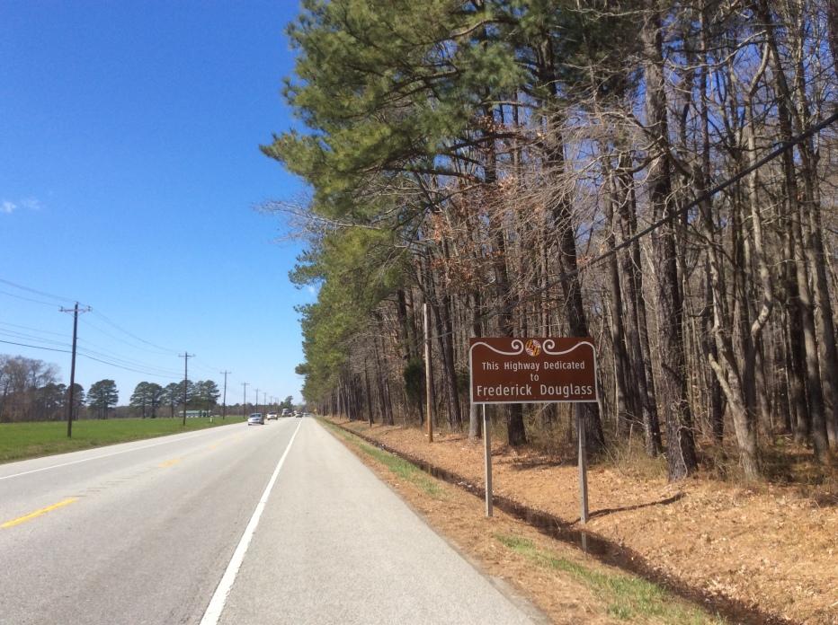 Frederick Douglass dedication sign on Highway 33 between Easton & St Michael's