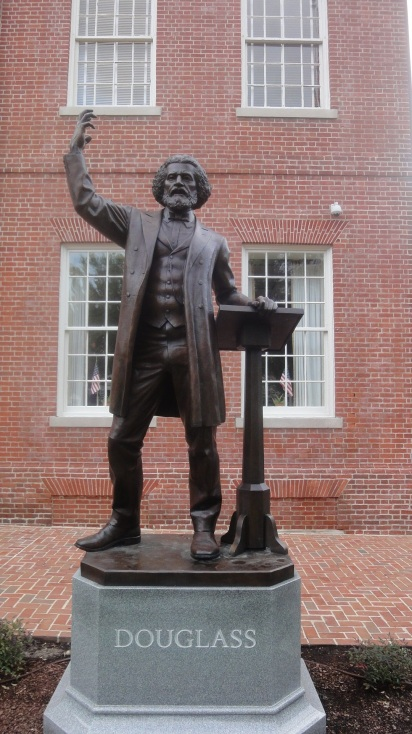 A statue of Frederick Douglass outside of the Talbot County Courthouse in Easton, courtesy Preservation Maryland, Creative Commons