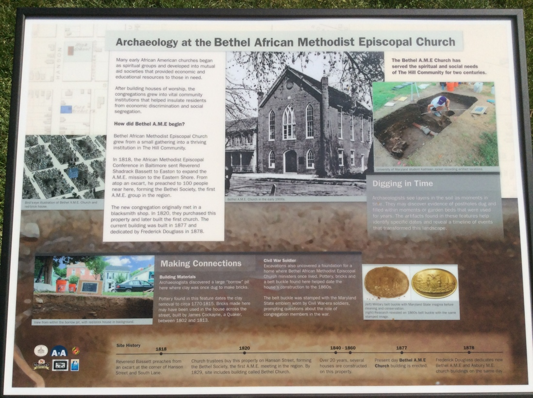 Archaeology at Bethel A.M.E. sign, Easton, MA