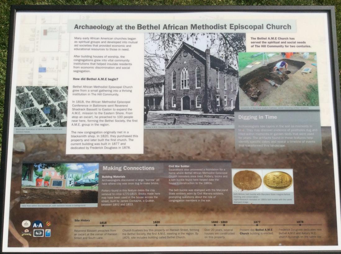 Archaeology at Bethel A.M.E. sign, Easton, MA