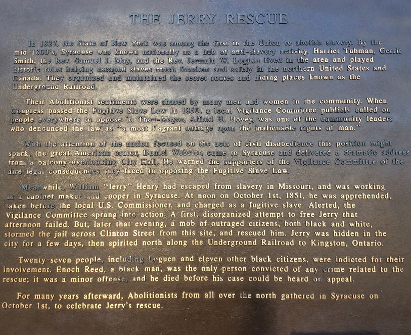 Jerry Rescue Monument Plaque, Syracuse NY, photo 2016 by Amy Cools