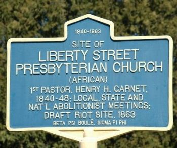 Liberty Street Presbyterian Church Marker at Liberty and Church Streets, photo by Howard C Ohlhous